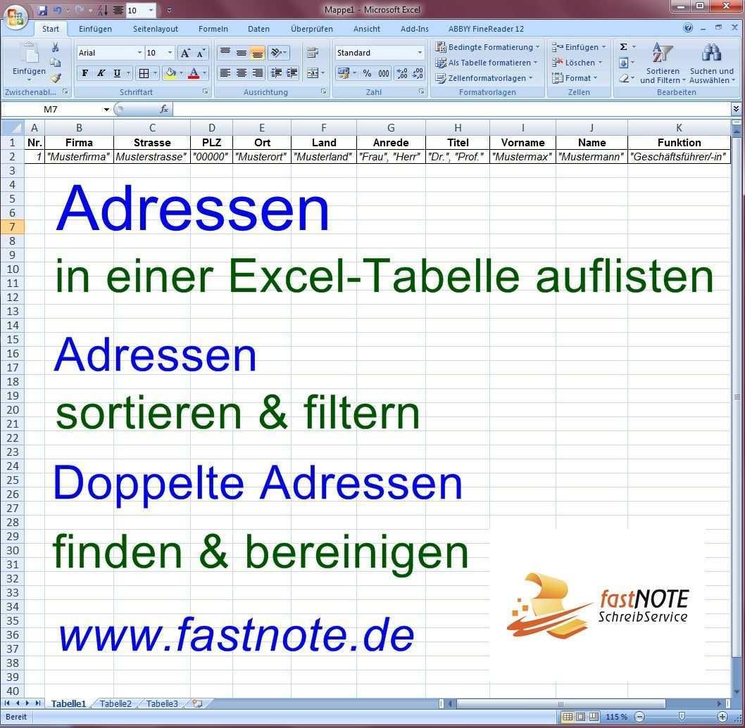 Abtippen Von Adressen In Eine Excel Tabelle Schreibarbeit Seitenlayout Tabelle