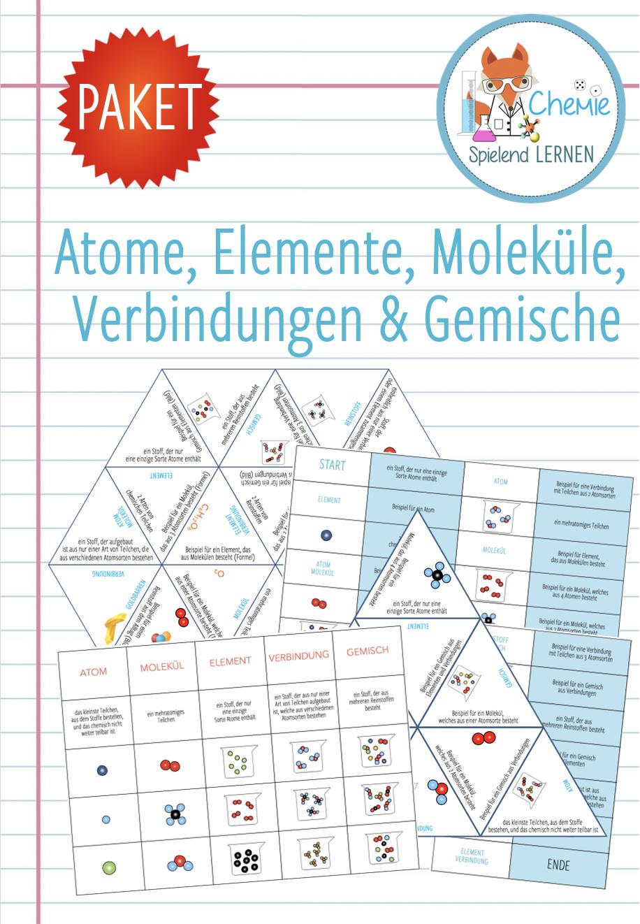 Atome Molekule Stoffe Elemente Verbindungen Gemische 5x Spiele Und Aktivitaten Unterrichtsmaterial In Den Fachern Chemie Fachubergreifendes Lernen Chemie Chemieunterricht
