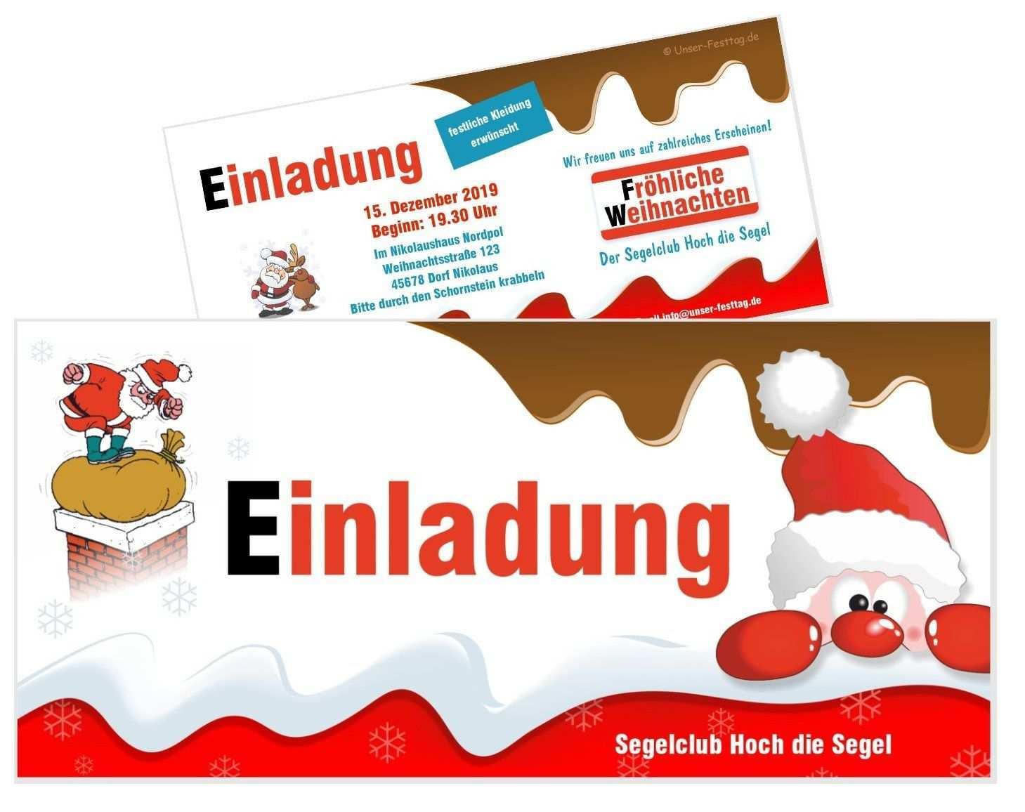 Einladungskarte Schoko Mit Nikolaus Einladung Weihnachtsfeier Einladungen Weihnachtsfeier