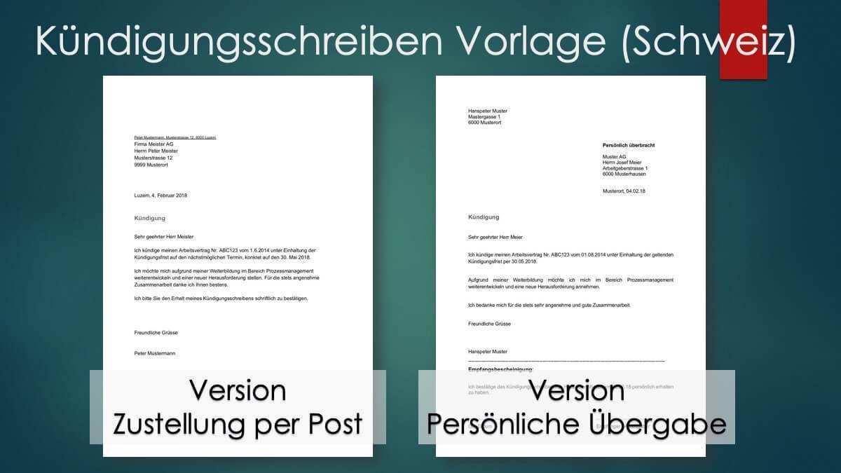 Kundigung Vorlage Arbeitsvertrag Schweiz Gratis Word Vorlage