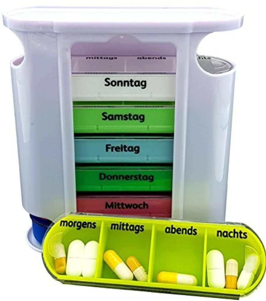 Produktdetails Im Uberblick Medikamentendosierer Unterteilung In 7 Wochentage Jeder Wochentag Ist Unterteilt In 4 Tageszeite Pillen Pillendose Medikamente