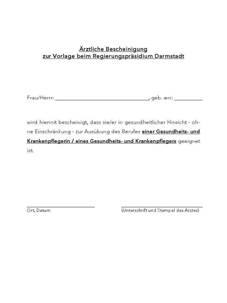 Formular Aerztliche Bescheinigung Krankenpflege 0 Pdf