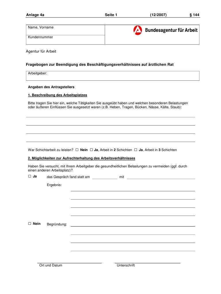 Fragebogen Zur Beendigung Des Beschaftigungsverhaltnisses Auf Arztlichen Rat Erwerbslosenforum Deutschland