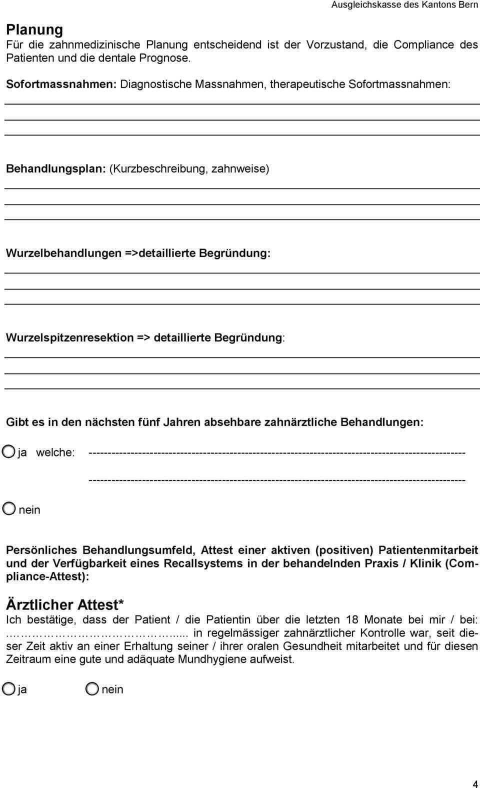 Zahnformular Erganzungsleistungen Befund Planung Arztlicher Attest Kostenvoranschlag Pdf Kostenfreier Download