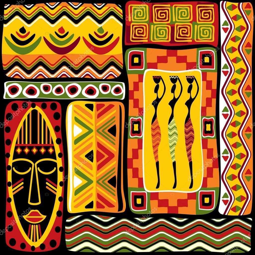 Faca Download Desta Imagem Vectorial Stock Royalty Free Sem Costura De Fundo Vector Com Elementos D Afrikanische Gemalde Afrikanische Kunst Afrikanische Muster