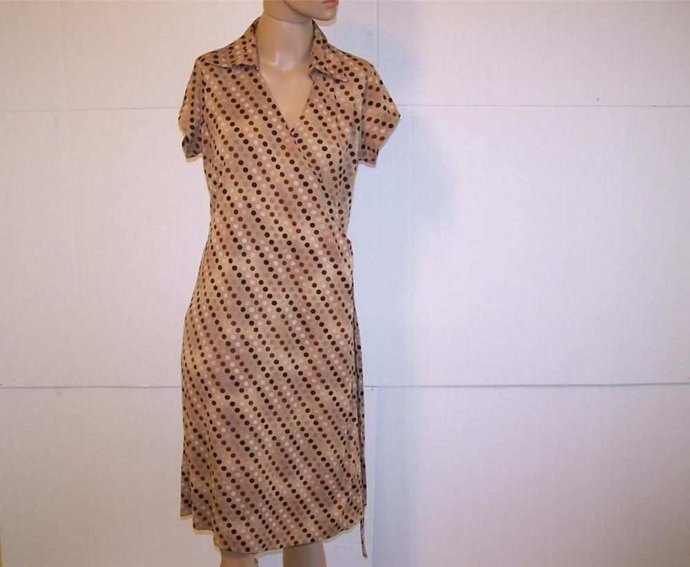 Ny Collection Wrap Dress M Brown Polka Dots Short Sleeves Stretch Kleider Wickelkleid