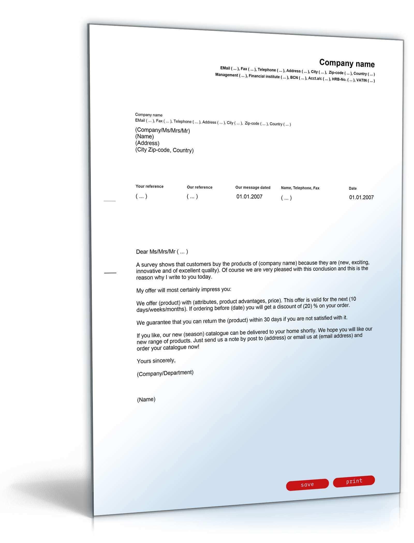 Allgemeiner Werbebrief Englisch Deutsch Muster Zum Download