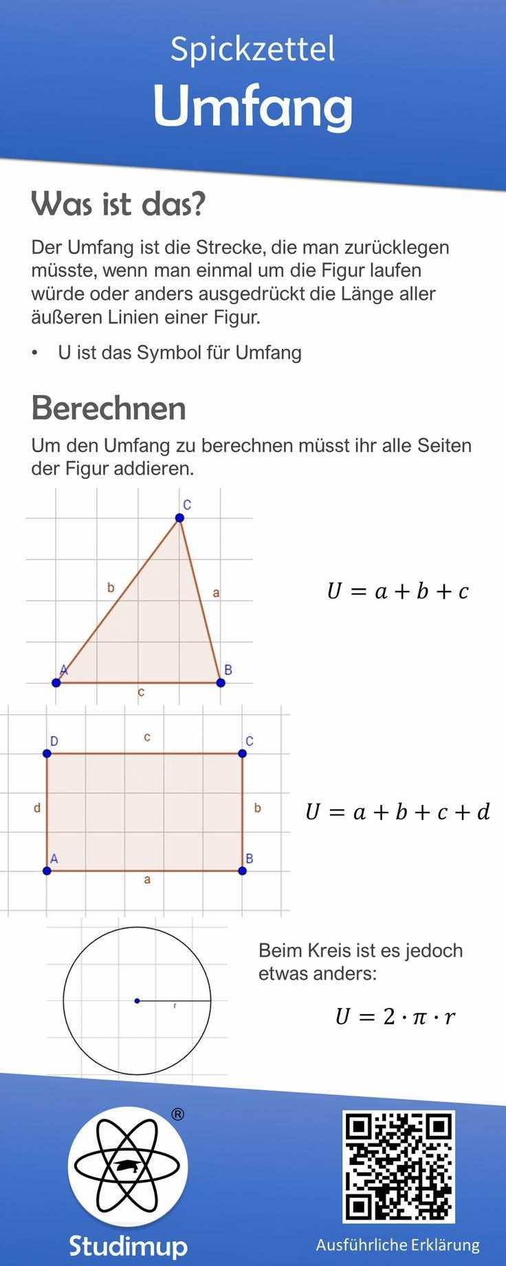 Mathe Spickzettel Zum Thema Umfang Mit Erklarung Und Formeln Fur Dreieck Quadrat Und Kreis Weitere Erklarungen In 2020 Math Cheat Sheet Scholarships For College Math