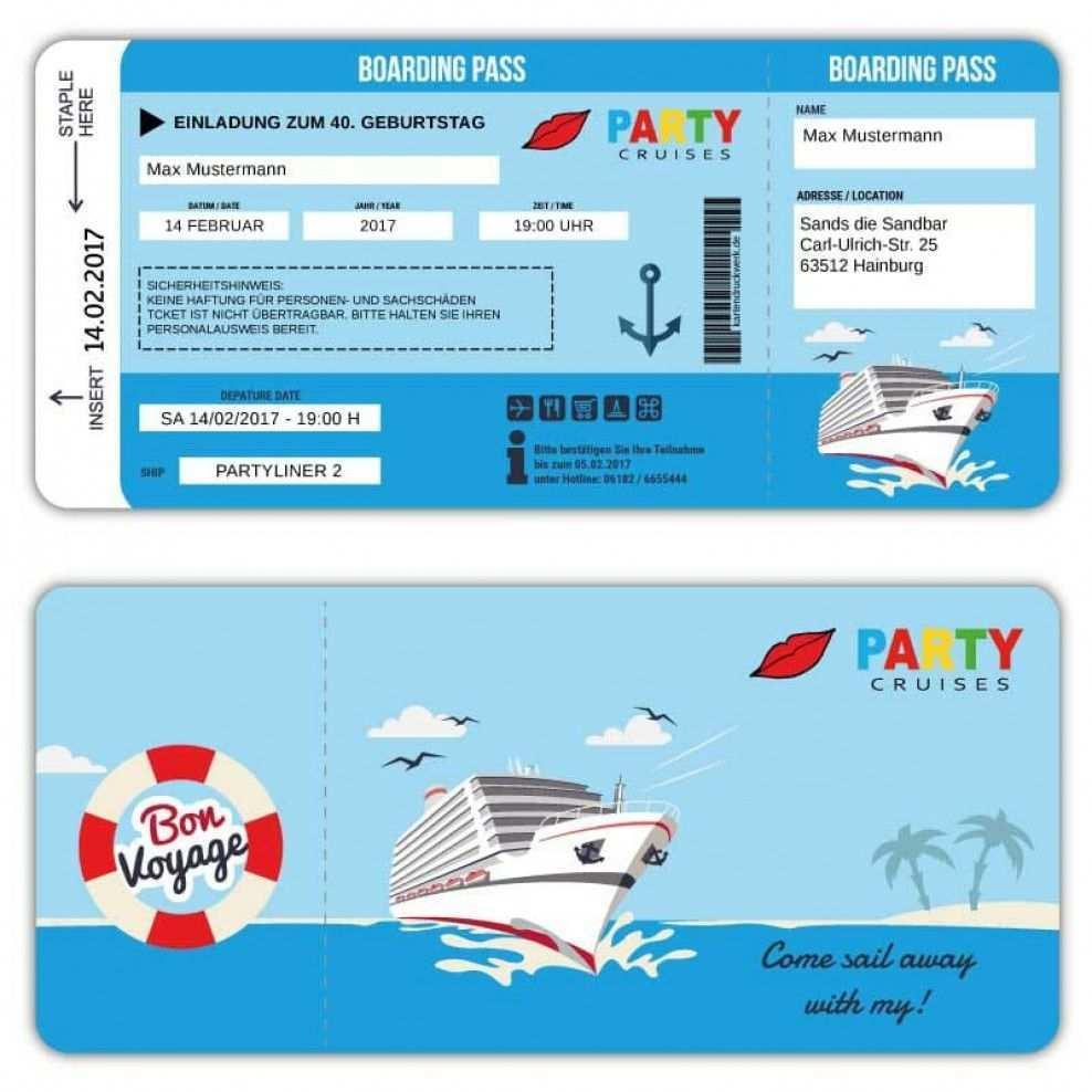 Einladung Als Kreuzfahrtschiff Ticket Boardkarte Bordkarte Einladungen Schiffsreise