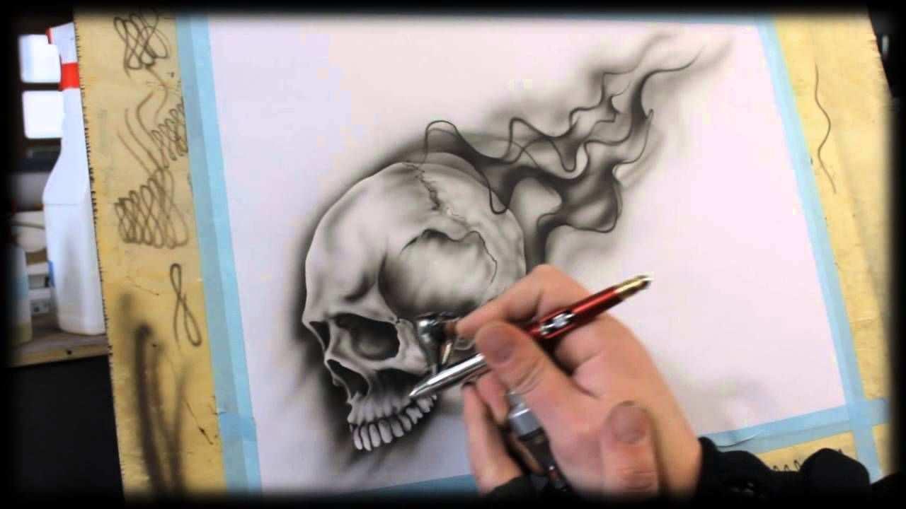 Airbrush Anleitung Fur Anfanger How To Airbrush For Beginners Skull Air Brush Painting Airbrush Designs Airbrush Art