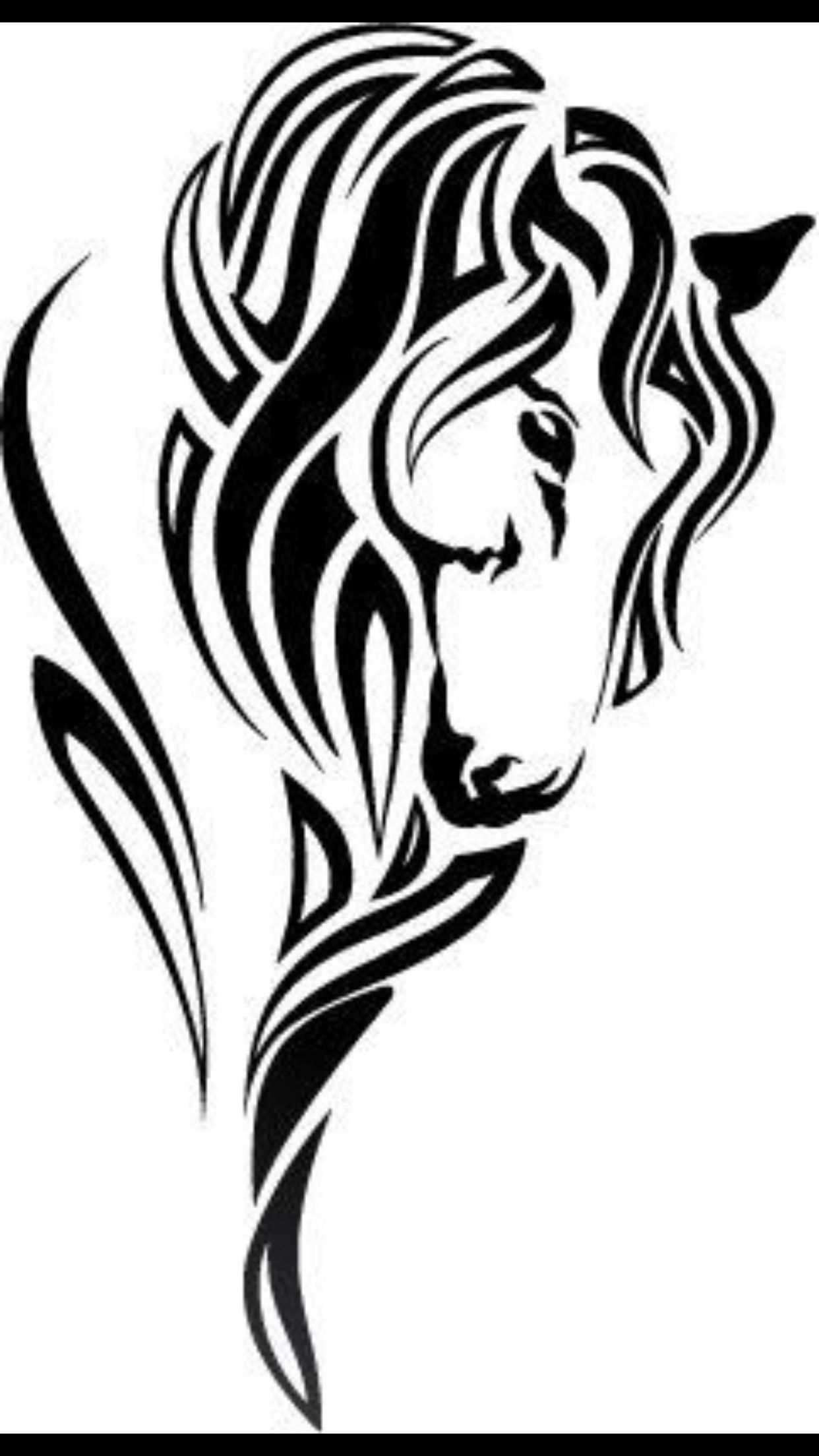 Horse Tattoo Tribal Style Imagenes Bonitas Pinterest Pferde In Pferde Schablonen Pferd Tattoo Pferde Silhouette Tattoo Pferd