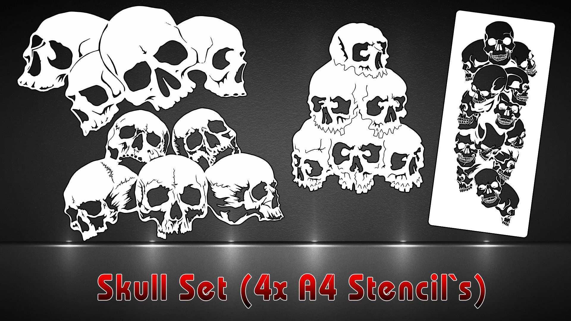 Airbrush Schablonen 4er Set Skull Haufen Airbrush Schablonen Schablonen Airbrush
