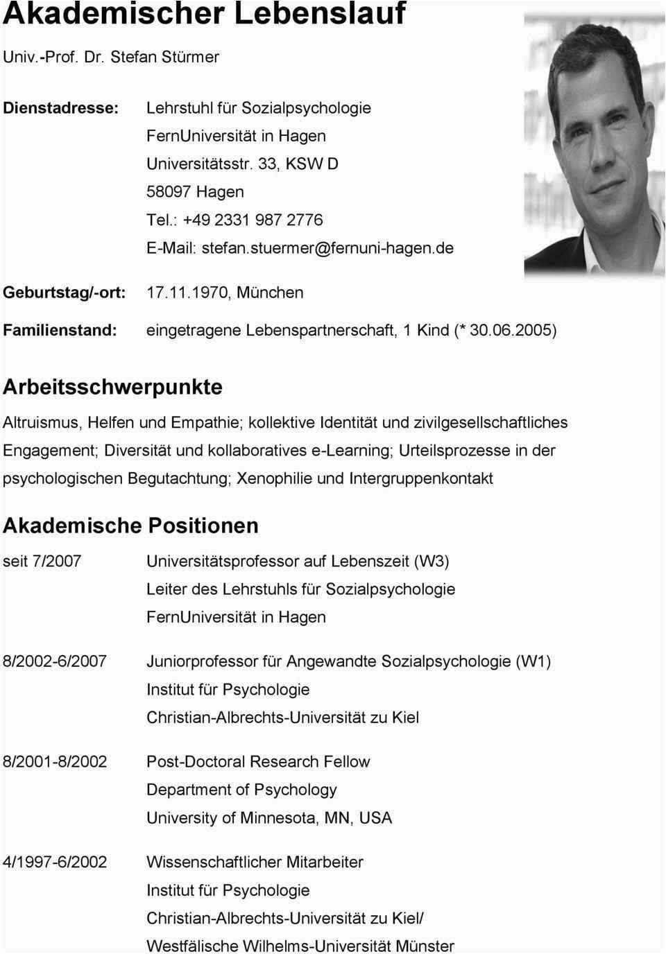 Akademischer Lebenslauf Deutsch Lebenslauf Universitat Munster Leben