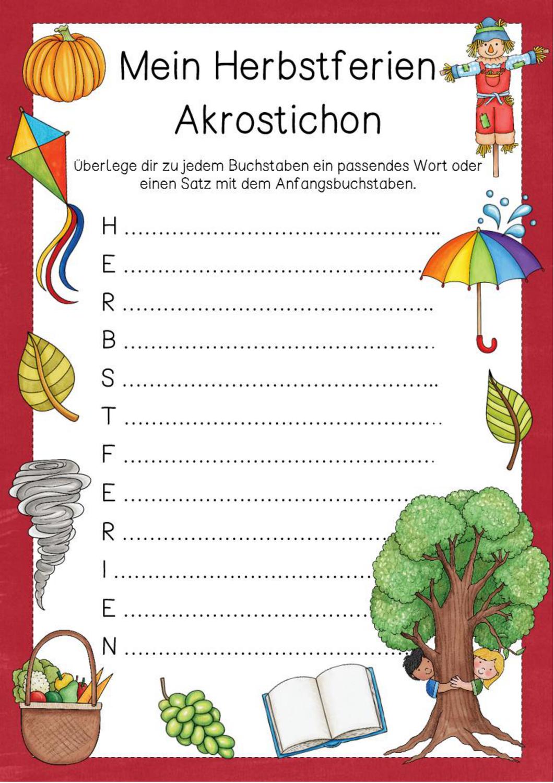 Herbstferien Akrostichon In 15 Bunten Variationen Unterrichtsmaterial In Den Fachern Deutsch Fachubergreifendes Akrostichon Unterrichtsmaterial Grundschule