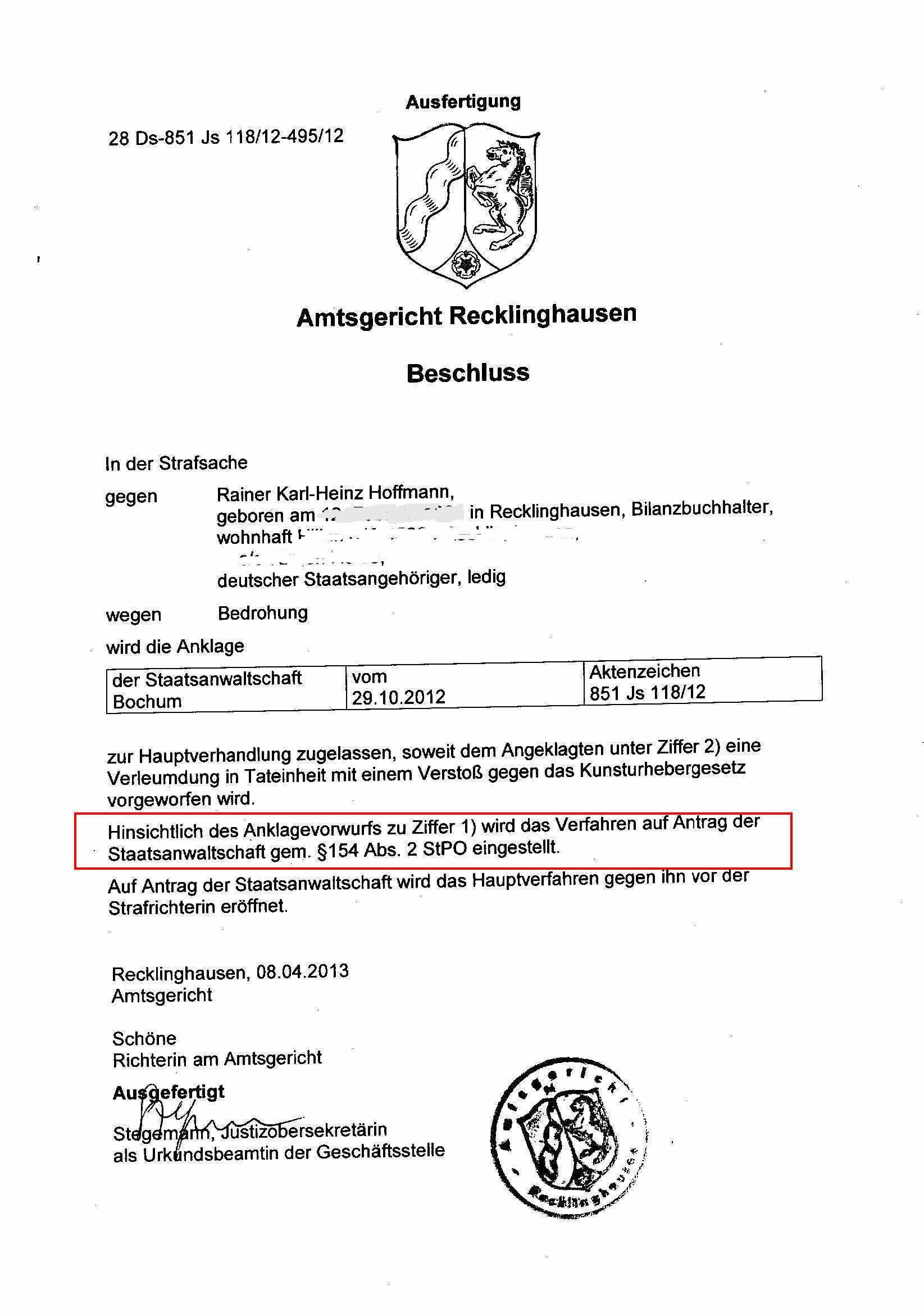 Wie Das Amtsgericht Recklinghausen Dem Solarkritiker Den Gesetzlichen Richter Art 101 Gg Entzogen Hat Solarkritik De Die Geheimakte Hoffmann