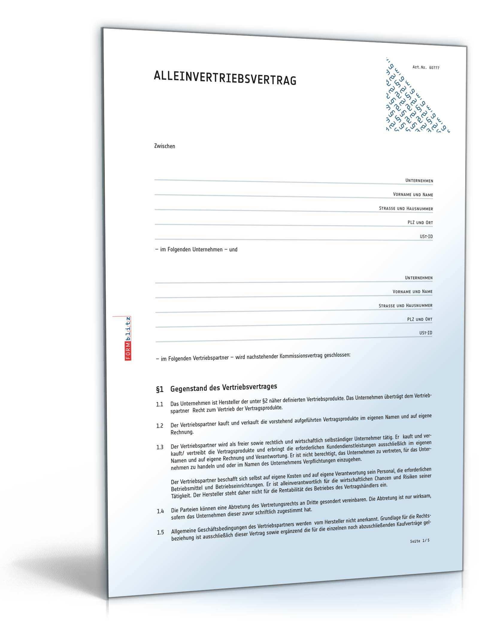 Alleinvertriebsvertrag Rechtssicheres Muster Zum Downloadd