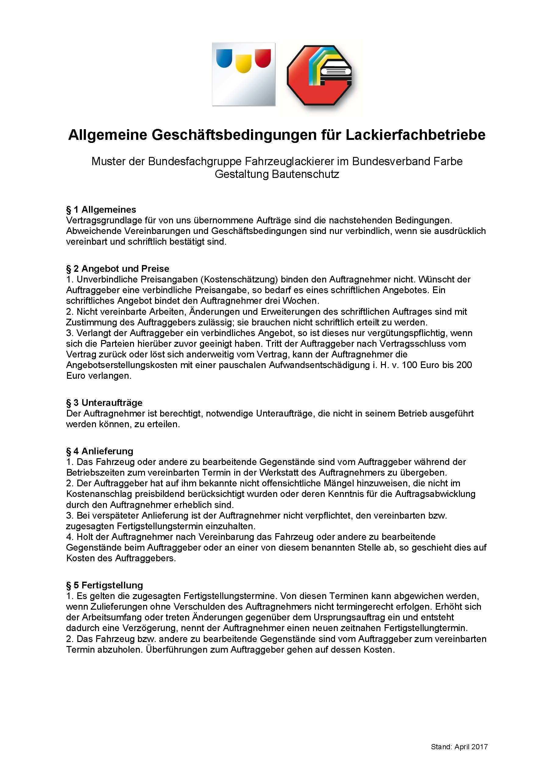 Agb Fur Lackierfachbetriebe Uberarbeitet Stand April 2017 Bundesverband Farbe