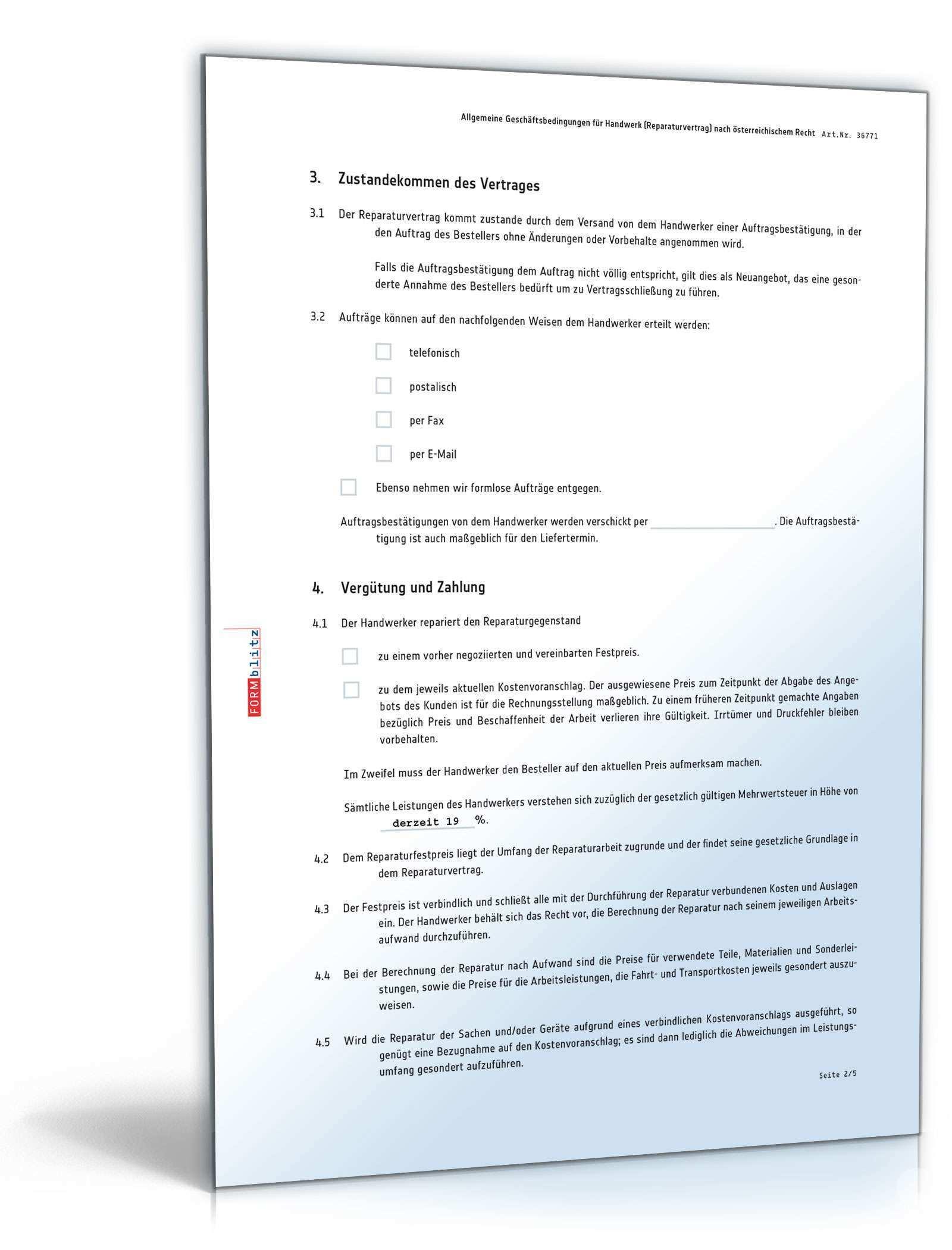Agb Handwerk Muster Vorlage Zum Download