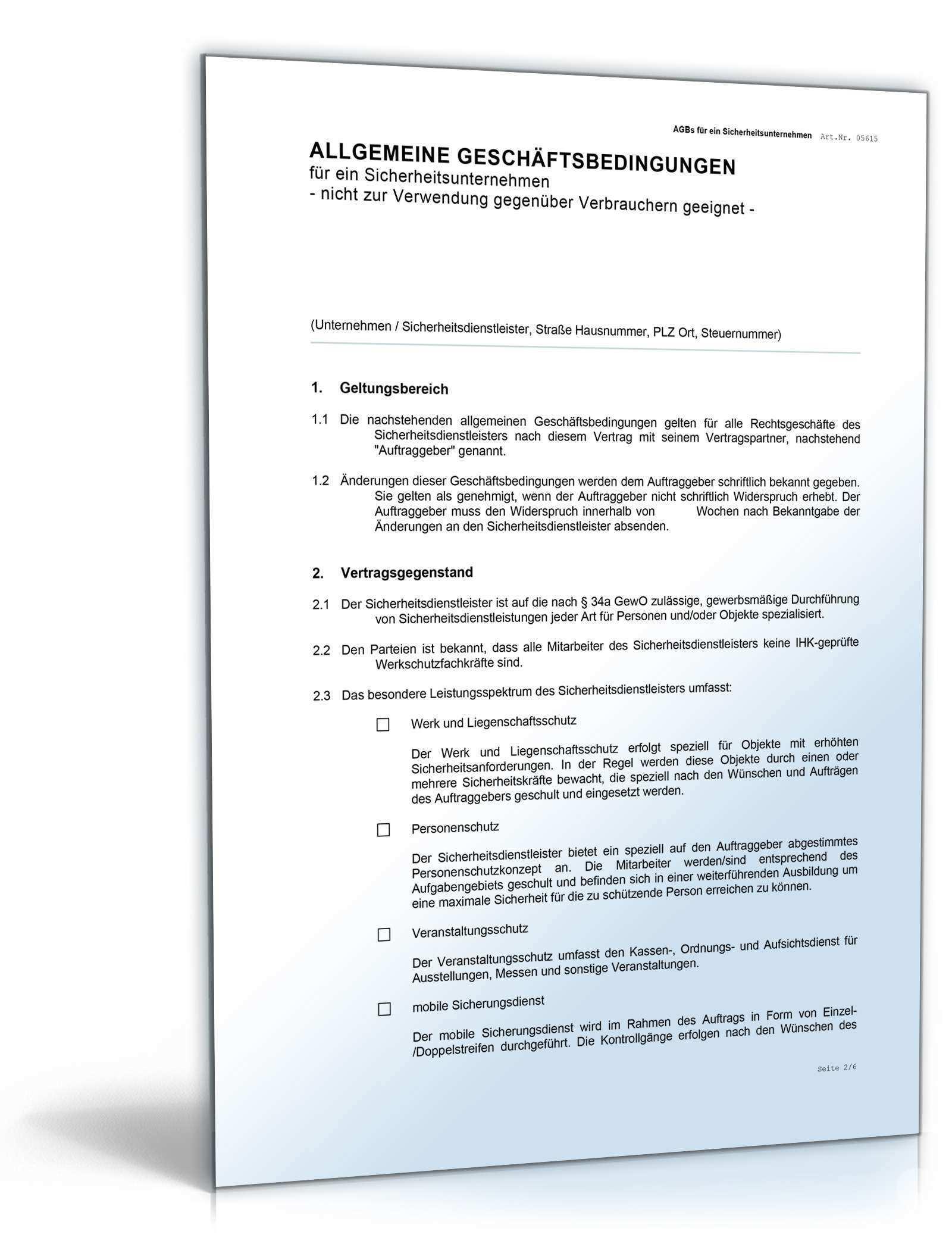 Agb Sicherheitsunternehmen Rechtssicheres Muster Zum Download