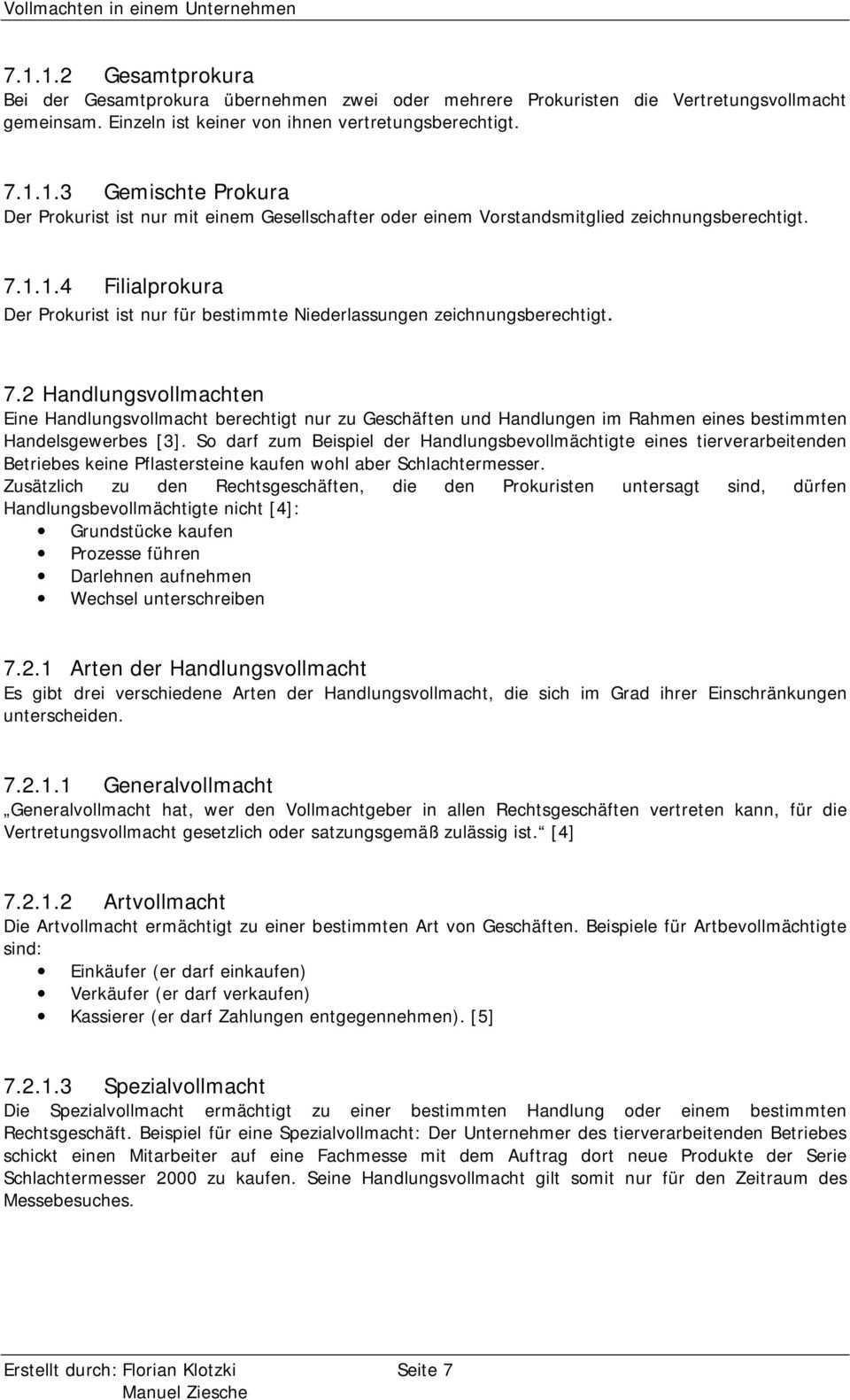 Vollmachten In Einem Unternehmen Eine Ausarbeitung Von Florian Klotzki Und Manuel Ziesche Pdf Kostenfreier Download