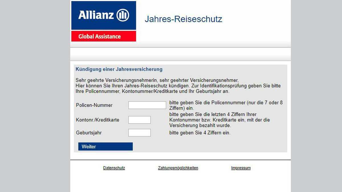 Allianz Reiserucktrittsversicherung Kundigen So Geht S Chip