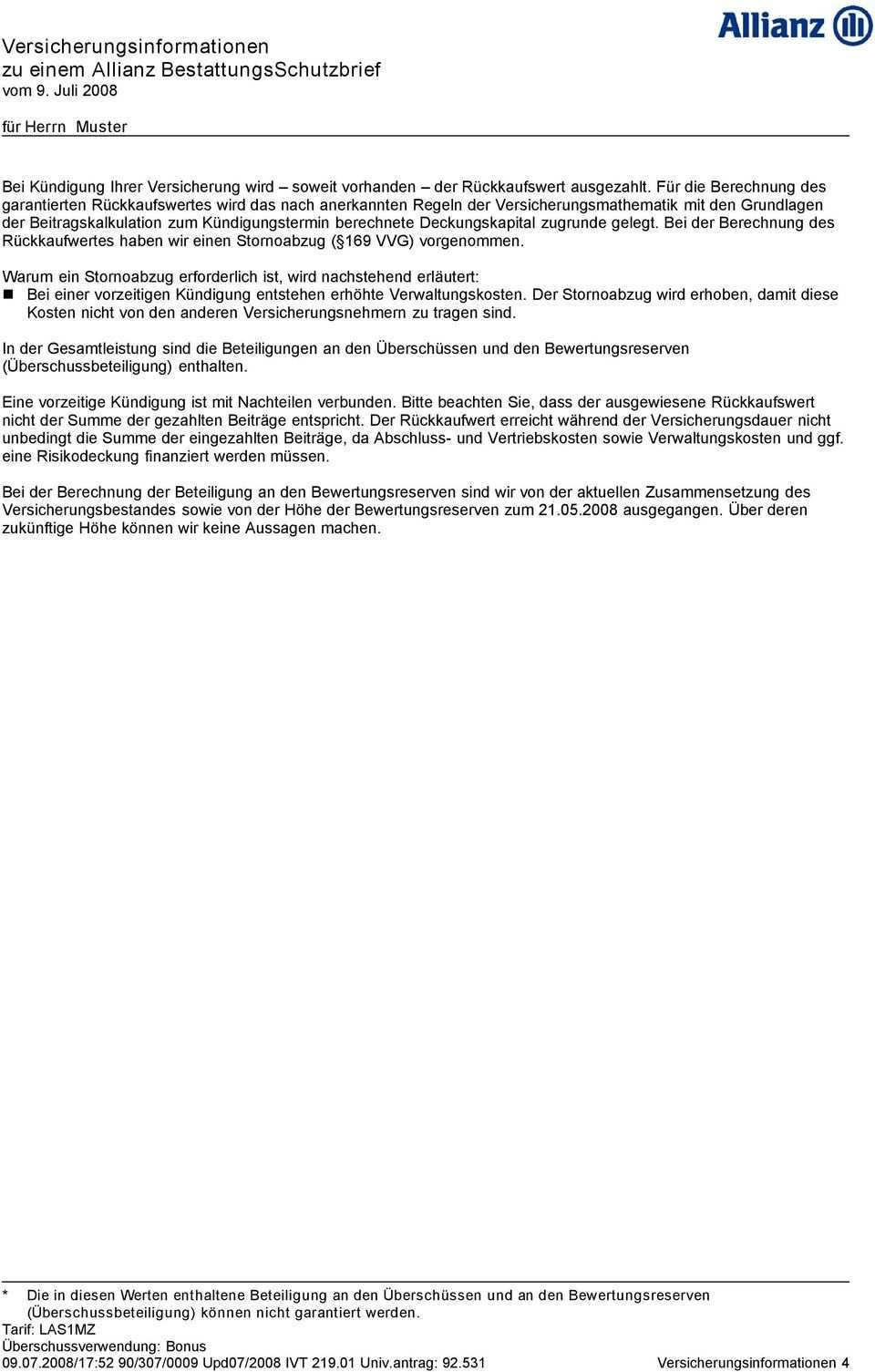 Versicherungsinformationen Zu Einem Allianz Bestattungsschutzbrief Vom 9 Juli Pdf Kostenfreier Download
