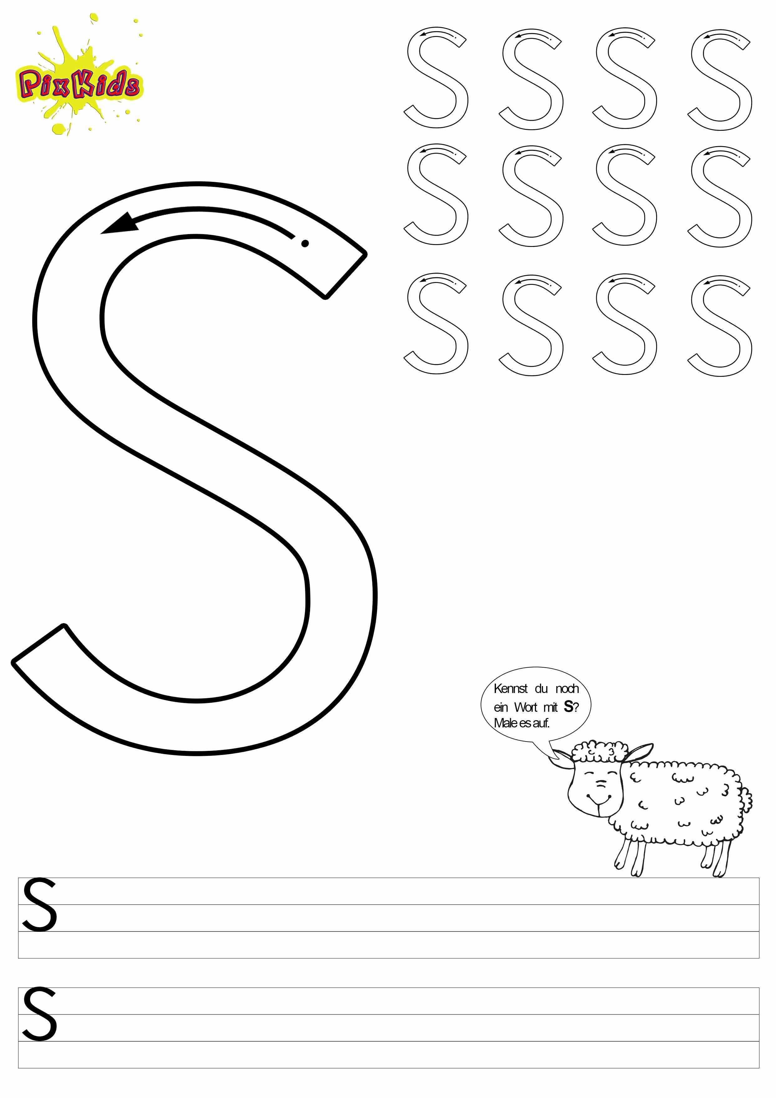 Vorlage Arbeitsblatt Schreiben Lernen Grundschule Vorschule Buchstaben Grossbuchstabe S Schreiben Lernen Arbeitsblatter Zum Ausdrucken Buchstaben Lernen