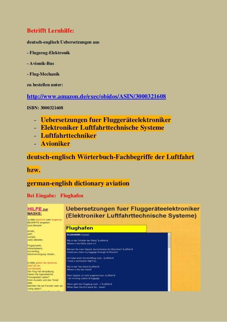 Lehrmittel Wagner Avioniker Woerterbuch Deutsch Englisch Uebersetzungen Elektronische Teile Flugge Luftfahrt Worterbuch Deutsch Englisch Englisch Worterbuch