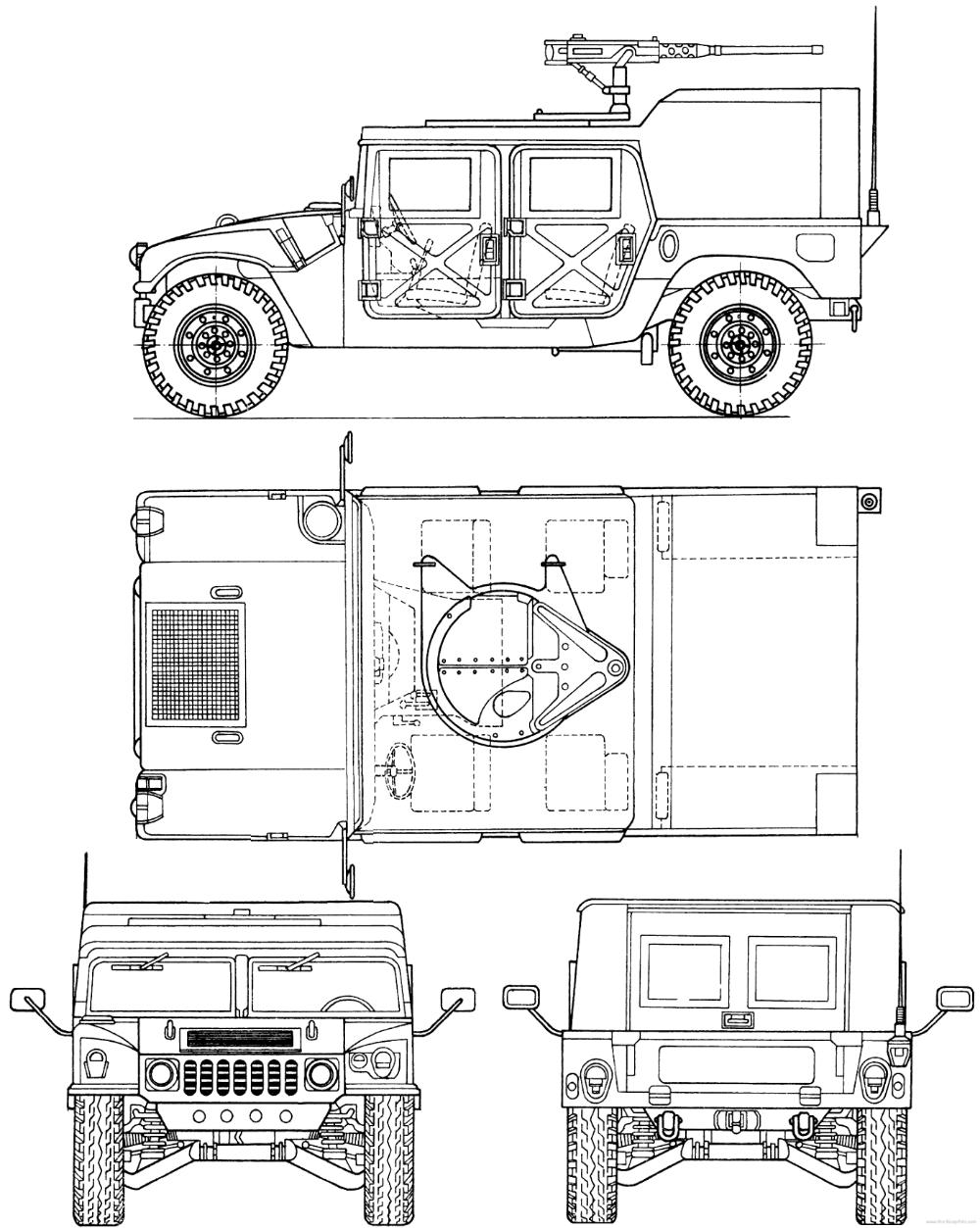 Am General Hmmwv M998 Humvee Hummer Blueprints Model Cars Building