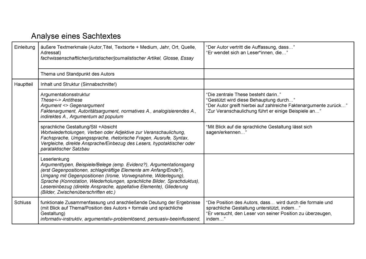 Analyse Eines Sachtextes Deutsch Studocu