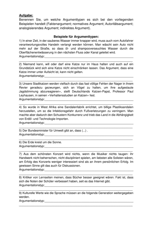 Argumentationstypen Aufgabe Mit Losung Unterrichtsmaterial Im Fach Deutsch Unterrichtsmaterial Deutsch Lernen Unterrichtsvorbereitung
