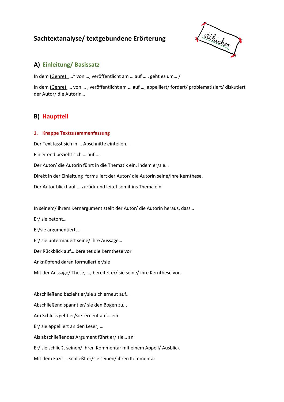 Erorterung Sachtextanalyse Formulierungshilfen Unterrichtsmaterial Im Fach Deutsch Sachtextanalyse Lernen Tipps Schule Formulierungshilfen