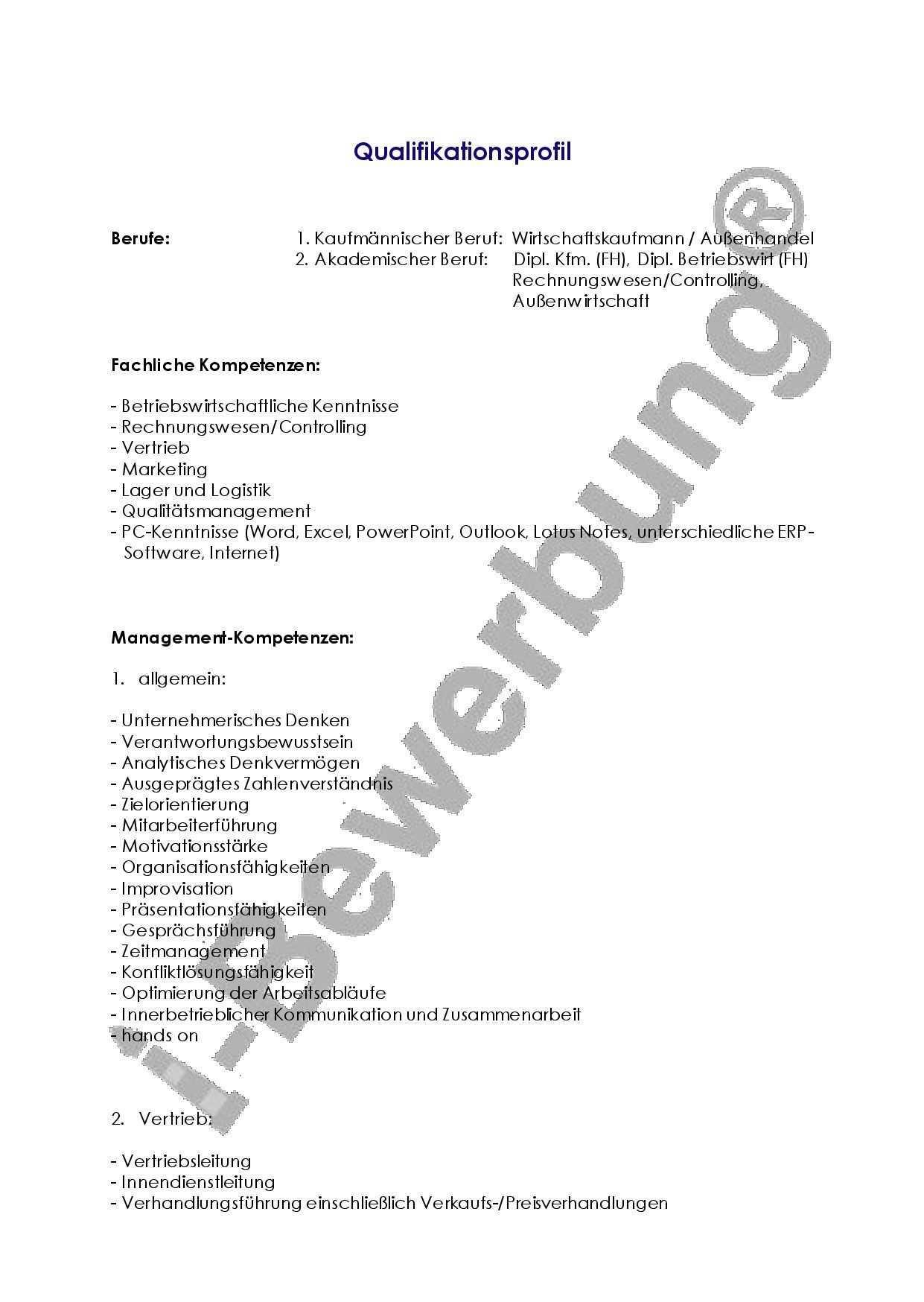 Beispiel Fur Die Erstellung Eines Qualifikationsprofils Stellenbewerbung Profil Kenntnisse