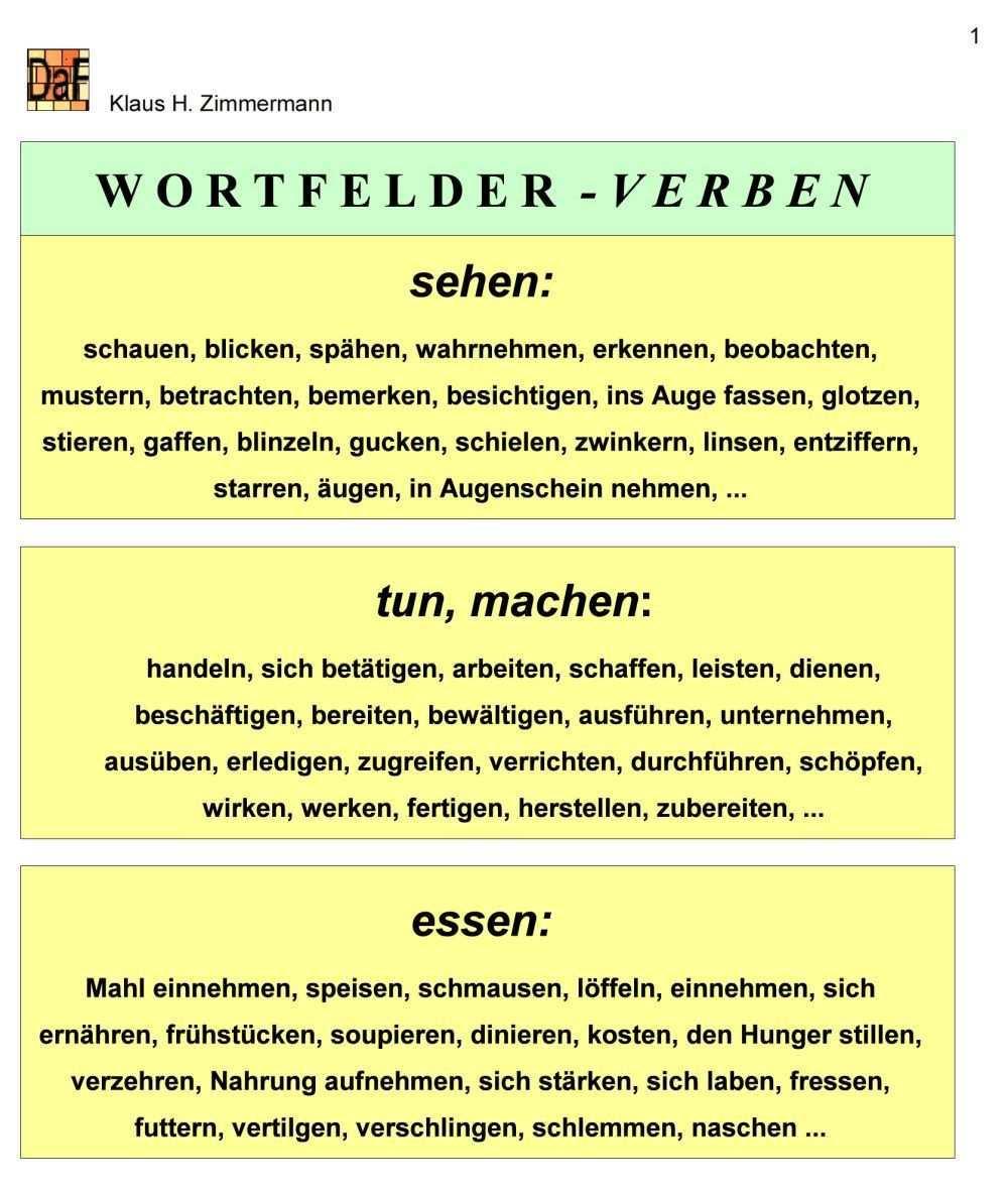 Deutsch Als Fremdsprache Daf Daz Grammatik Wortfeld Wortfelder Deutsch Als Fremdsprache Fremdsprache