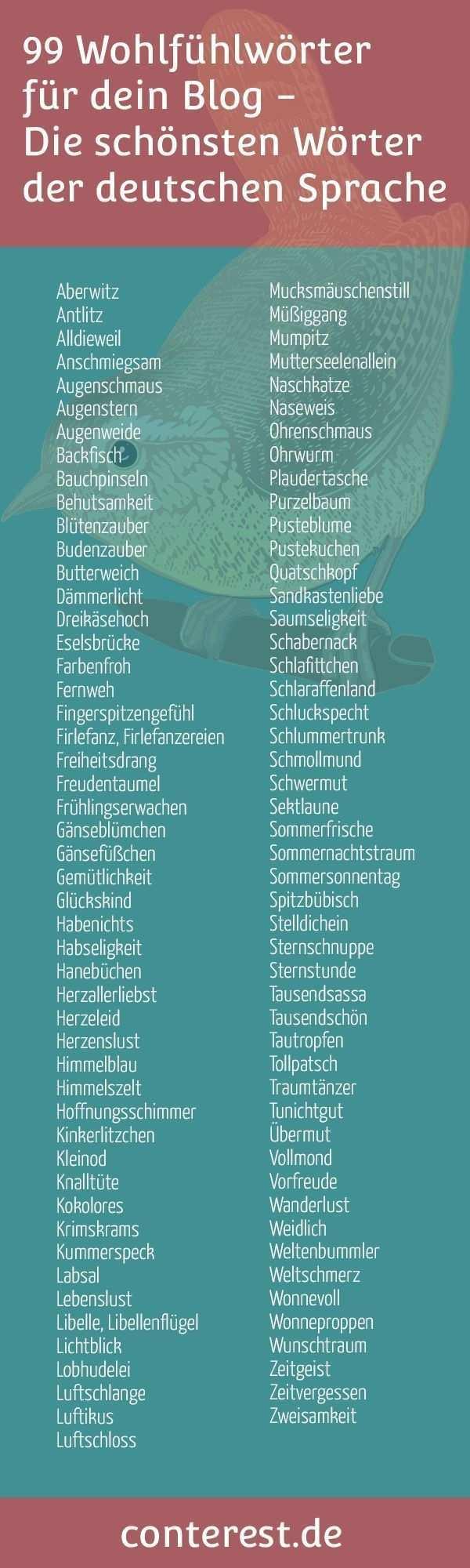 Wohlfuhlworter Fur Dein Blog Die Schonsten Worter Der Deutschen Sprache Conterest Deutsche Sprache Worter Fremdworter