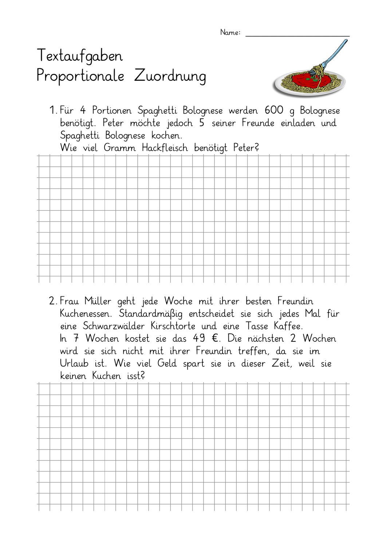 Ab Textaufgaben Klasse 7 Proportionale Zuordnung 1 Mit Losungen Dreisatz Mathematikunterricht Bruchrechnen