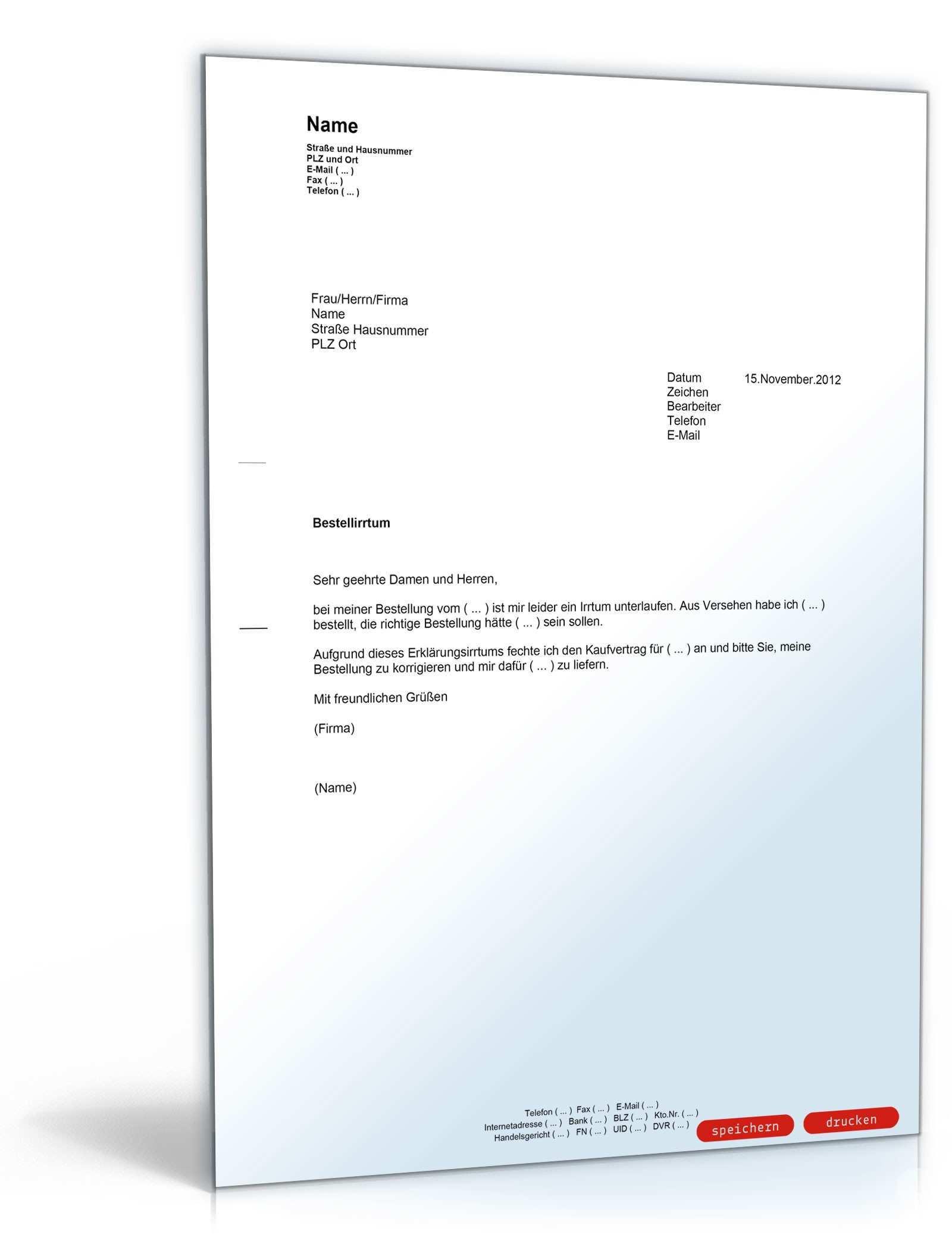 Anfechtung Kaufvertrag Wegen Irrtums Muster Vorlage Zum Download