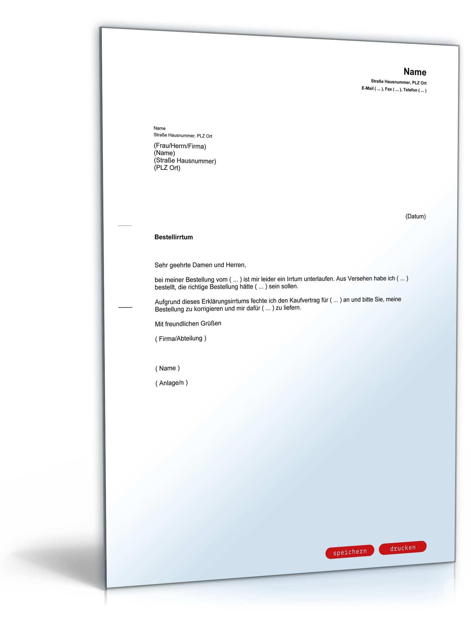 Anfechtung Kaufvertrag Wegen Irrtums Vorlage Zum Download