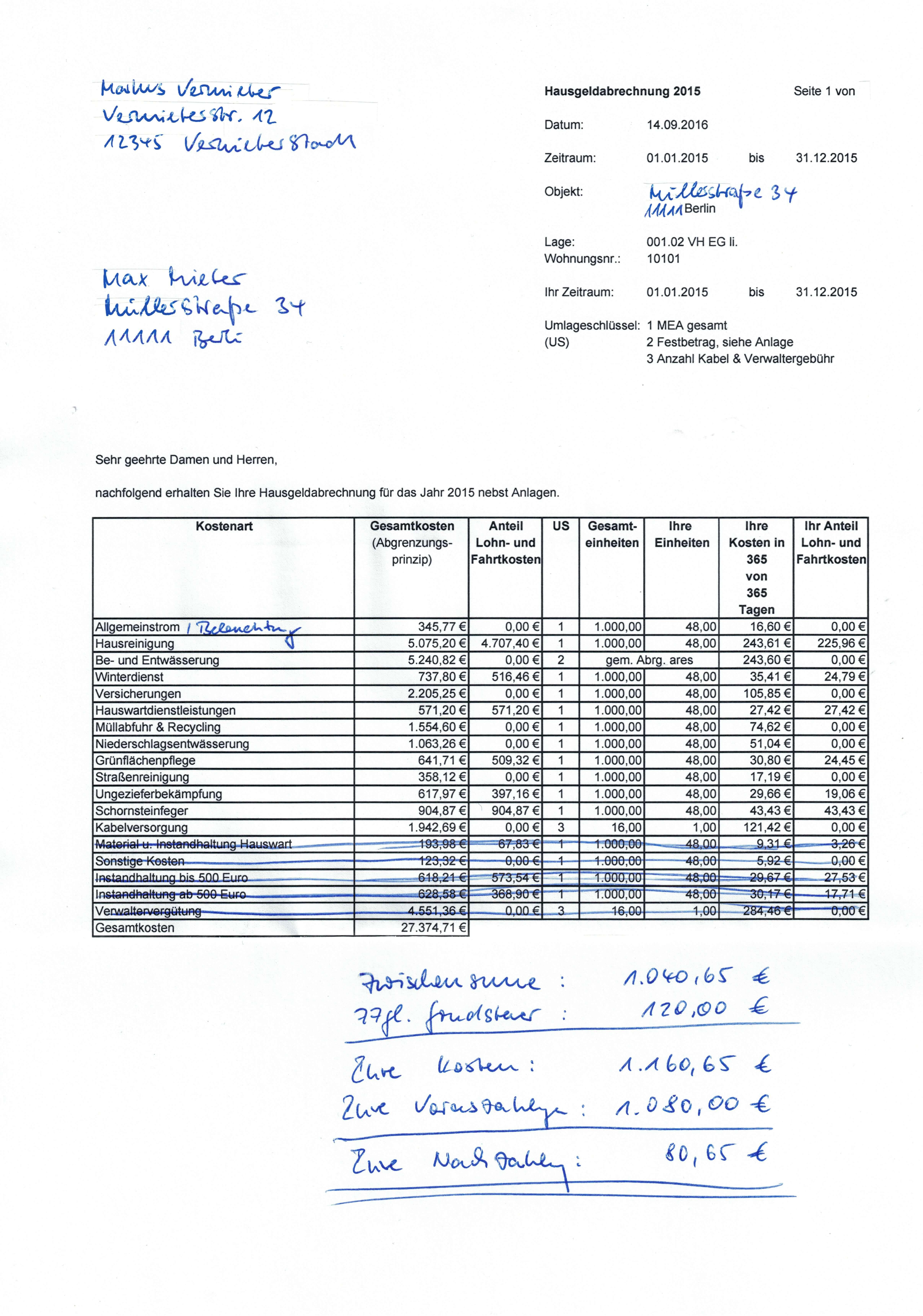 Nebenkostenabrechnung Eigentumswohnung Nebenkosten Blog De