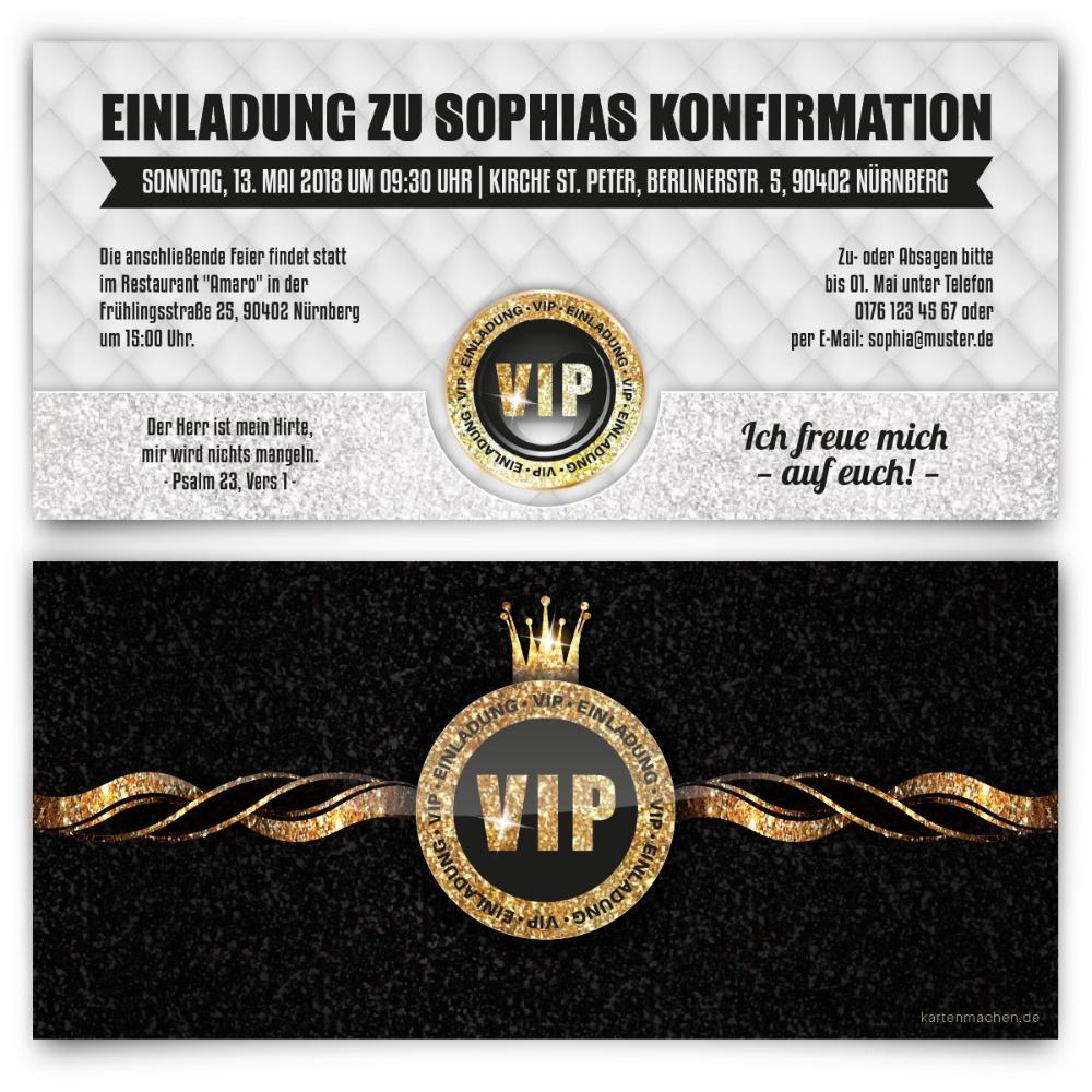 Einladungskarten Zur Konfirmation Vip Gold Vip Einladungskarten Selbst Gestalten
