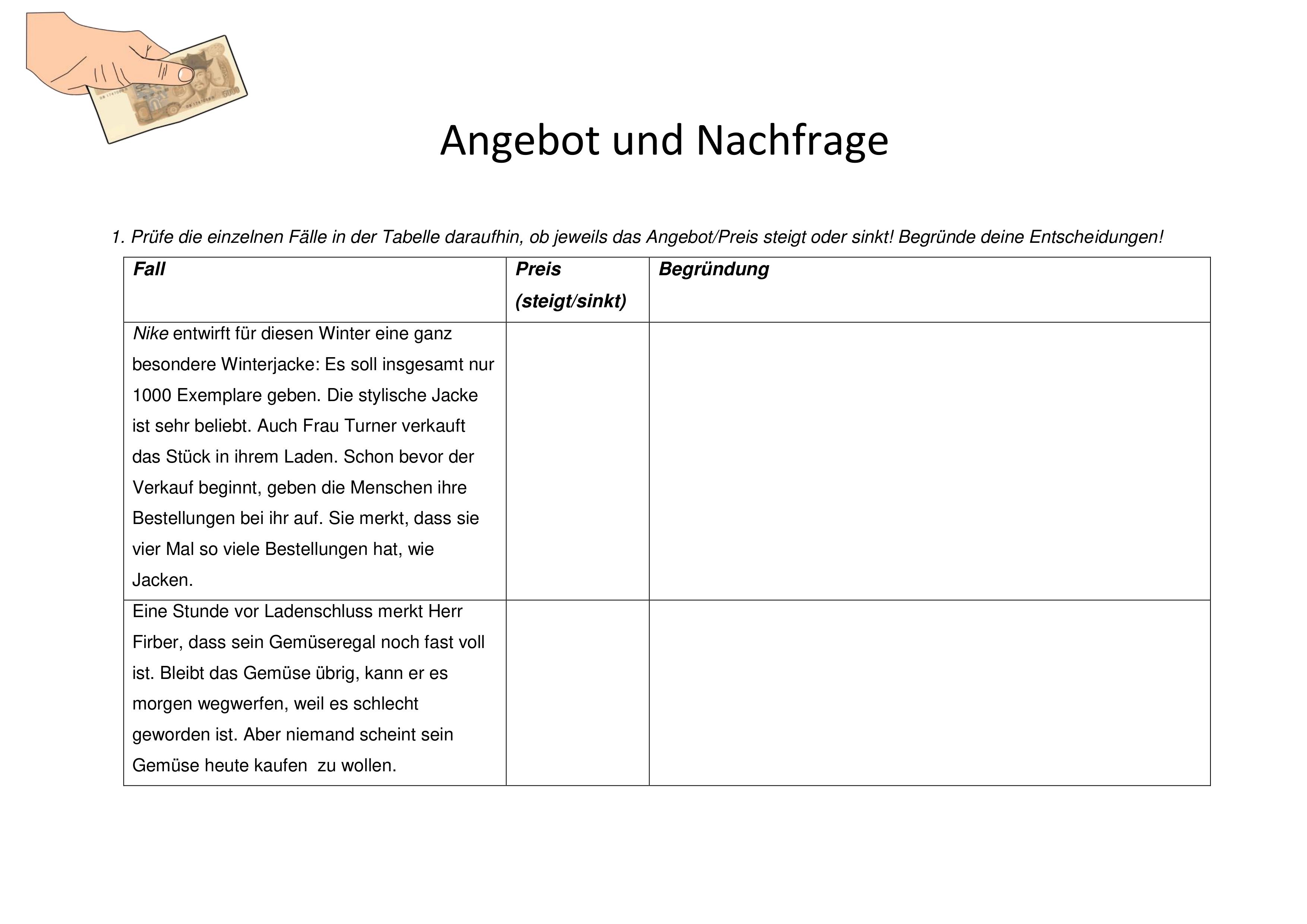 Arbeitsblatt Als Ubung Zum Verstandnis Von Angebot Und Nachfrage Unterrichtsmaterial Schulideen Realschule