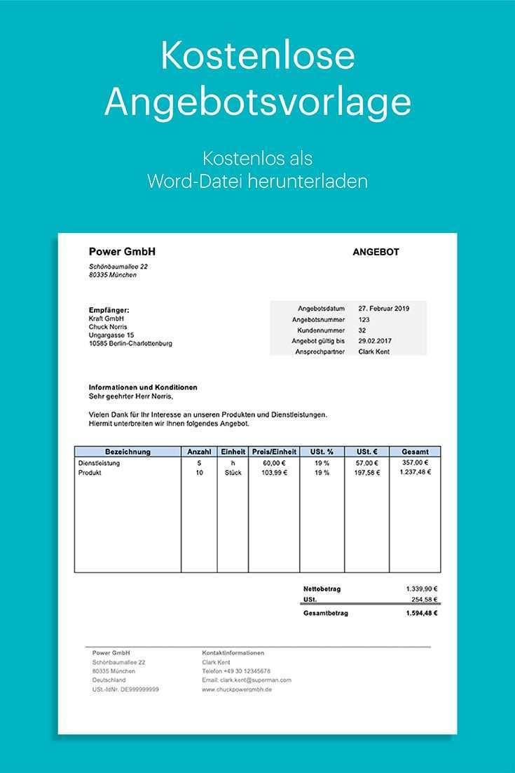 Kostenlose Angebotsvorlage In Word Mit Anleitung Rechnung Vorlage Rechnungsvorlage Excel Vorlage