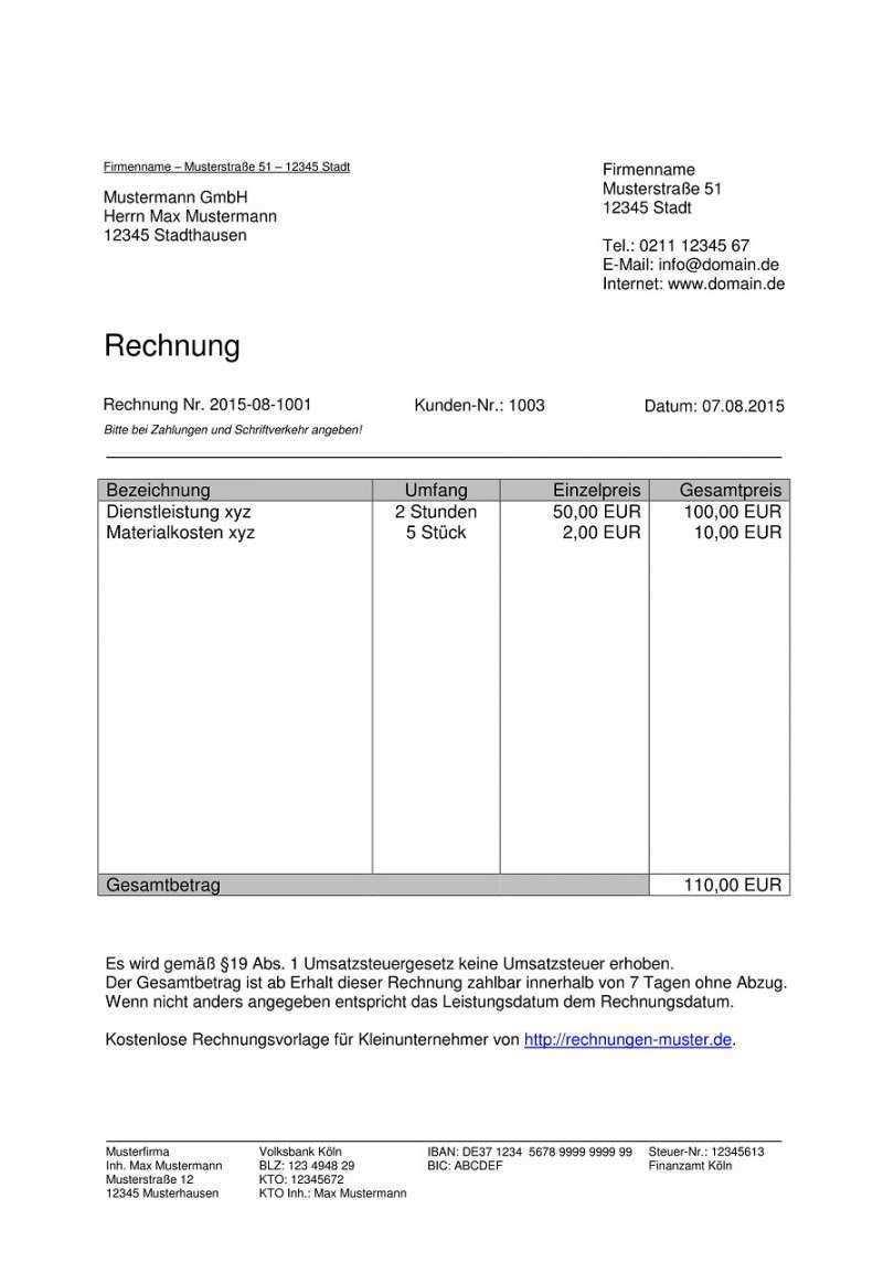 Fabelhaft Kleinunternehmer Rechnung Vorlage Rechnung Vorlage Rechnungsvorlage Excel Vorlage