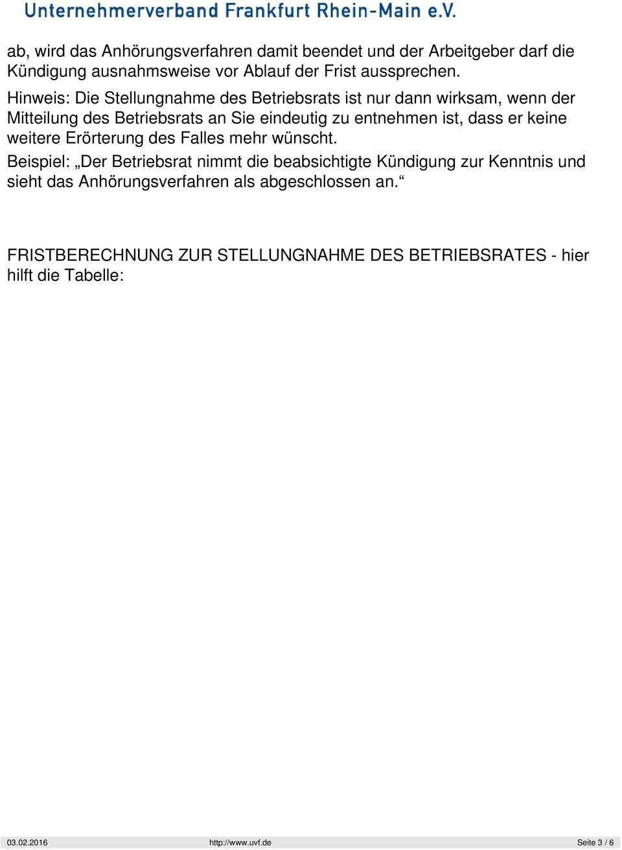 Berechnung Der Frist Zur Stellungnahme Des Betriebsrates Bei Kundigung Pdf Kostenfreier Download