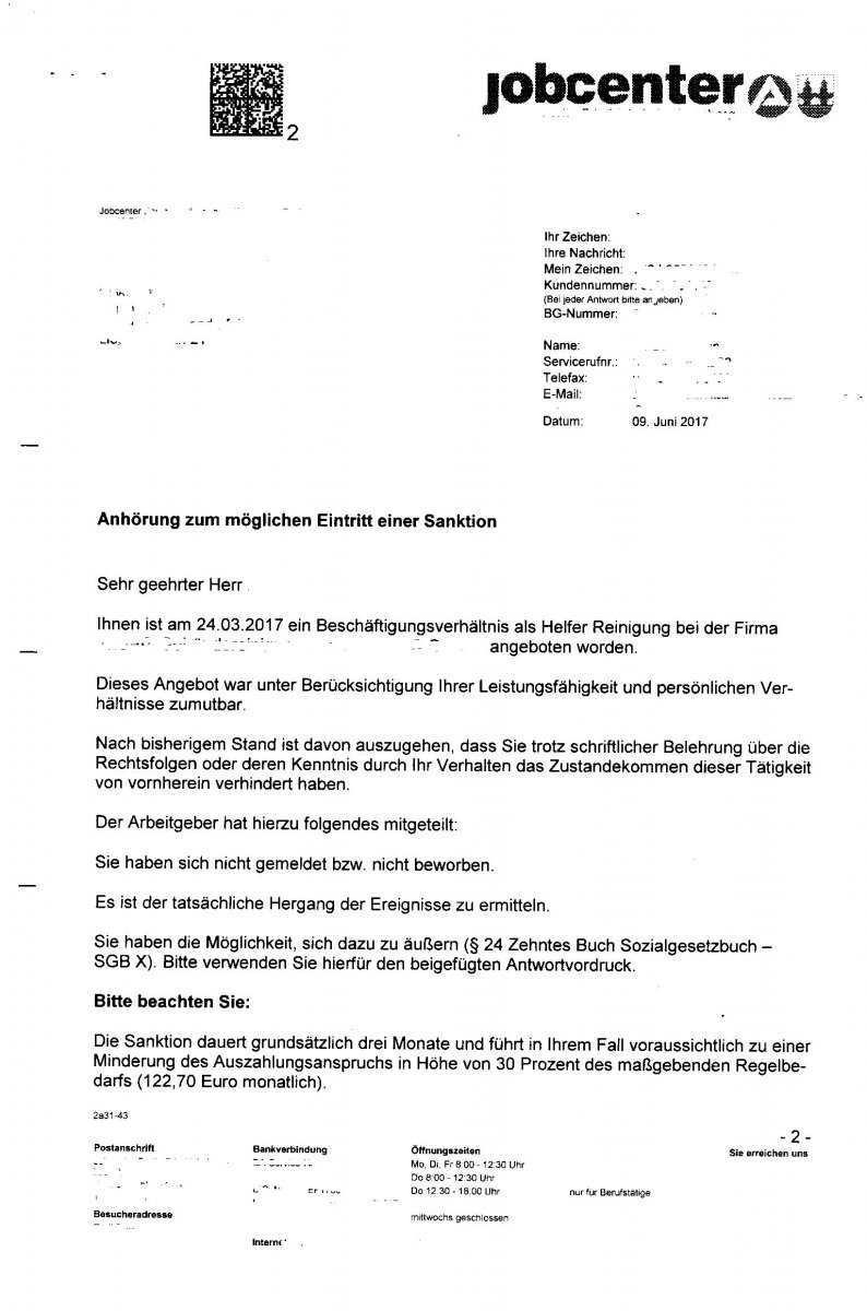 Anhorung Zum Eintritt Einer Moglichen Saktion Angeblich Nicht Auf Stelle Beworben Erwerbslosenforum Deutschland