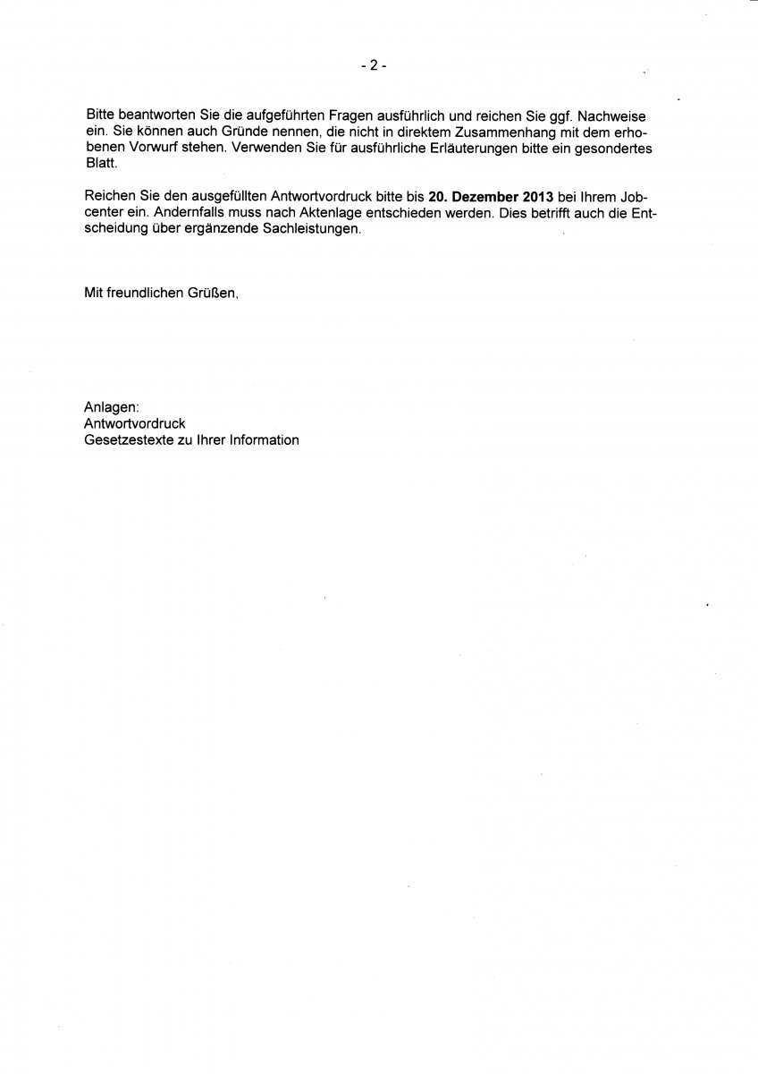 Anhorung Zum Moglichen Eintritt Einer Sanktion 30 Erwerbslosenforum Deutschland