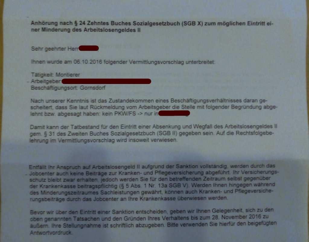 Anhorung Nach 24 Zum Moglichen Eintritt Einer Minderung Algii Erwerbslosenforum Deutschland