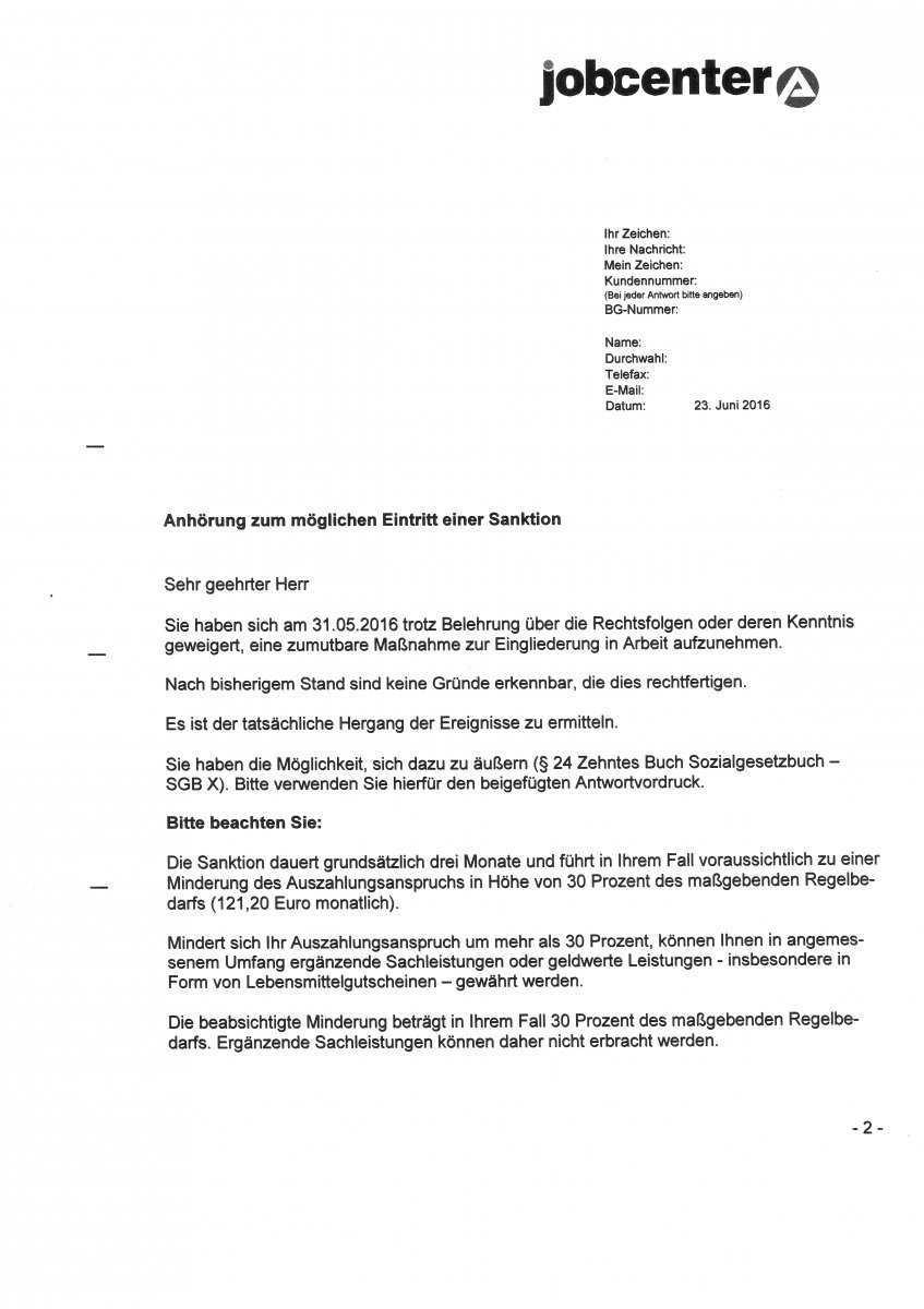 Anhorung Zum Moglichen Eintritt Einer Sanktion Massnahme Erwerbslosenforum Deutschland