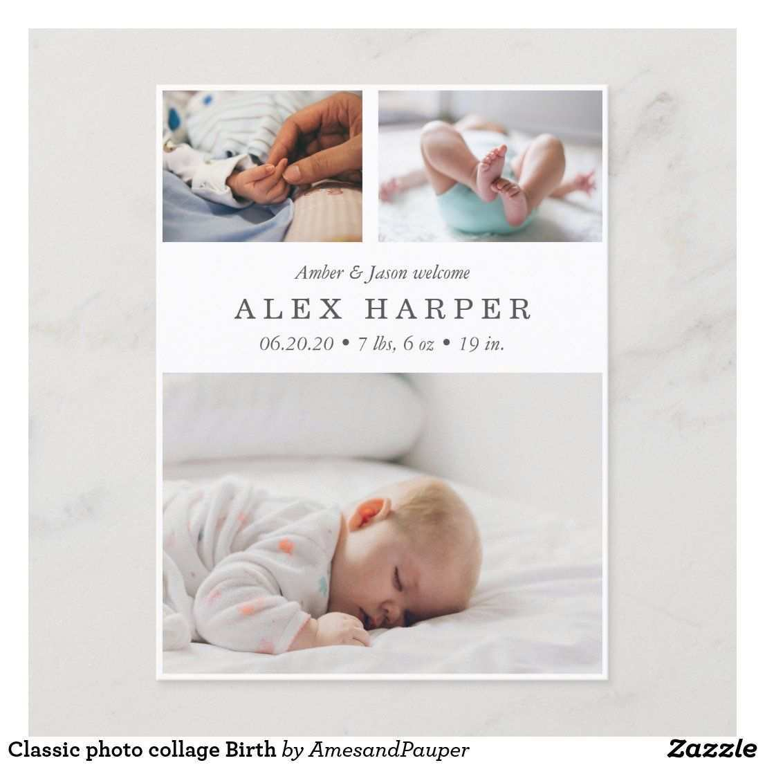 Classic Photo Collage Birth Announcement Postcard Zazzle Com Birth Announcement Baby Announcement Cards Gender Neutral Birth Announcement