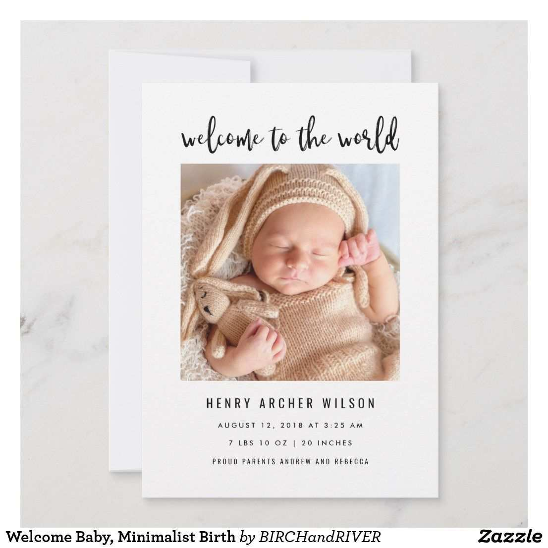 Welcome Baby Minimalist Birth Announcement Zazzle Com Baby Announcement Cards Baby Announcement Getting Pregnant With Twins